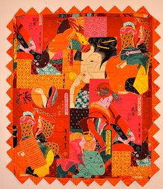 Give away - Red & Orange again? Orange Quilt, Fabric Art, Medium Art, Japanese, Quilts, Hot, Japanese Language, Quilt Sets, Log Cabin Quilts