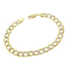 International 14k Gold 8mm Hollow Two-tone Cuban Curb Link Diamond-cut Pave Bracelet (8.5), Size 8.5 Inch