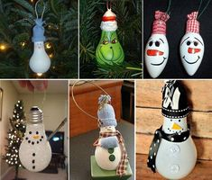 Turn Light Bulbs Into Tree Decorations...Click On Picture To Take You To Another Pinterest Page With Many Links To Make These & Many, Many More Styles & Designs...