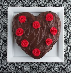 ... Cheesecake Swirled Hearts & Roses Cake with Whipped Chocolate Frosting