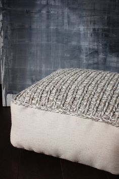 Wool footstool-knitted pouf-floor cushion-grey knit chair-knitting ...