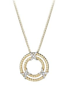 David+Yurman+'X'+Pendant+Necklace+with+Diamonds+in+18K+Yellow+Gold+available+at+#Nordstrom