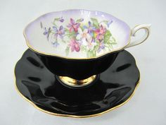 Vintage Royal Albert Black Teacup & Saucer, Milady Series #4 of 6. found on ebay by theteacupman