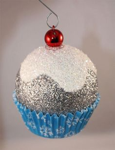 Blue Snowflake Cupcake Christmas Ornaments - Cherry & Glitter