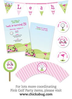 PINK Golf party - Personalized DIY printable pennant banner.