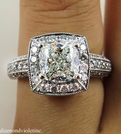 GIA 3.06ct Estate Vintage Cushion Diamond by DiamondViolet on Etsy