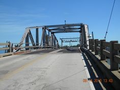 Walking across the now-gone drawbridge to Marsh Island.
