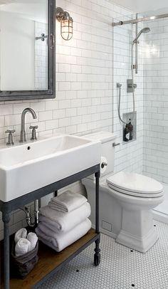 Awesome Farmhouse Bathroom Vanity Remodel Ideas – Best Home Decorating Ideas Industrial Bathroom Vanity, Farmhouse Bathroom Sink, Bathroom Sink Design, Bathroom Taps, Modern Bathroom, Master Bathroom, Small Bathrooms, Vanity For Small Bathroom, Mosaic Bathroom