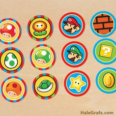 super mario cupcake toppers {FREE} Printable Super Mario Bros. Cupcake Toppers