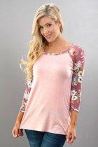 Gayle Floral Raglan Top - Blush & Mauve (S,M,L)