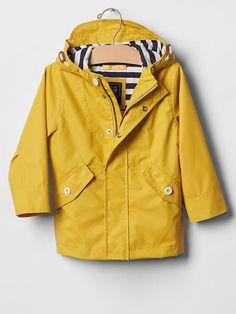Jersey-lined rain jacket | Gap color: rainslicker yellow $68.00