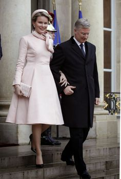 06 FEBRUARY 2014 King Philippe and Queen Mathilde visit President Fancois Hollande of France at the Elysee palace in Paris.