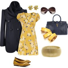 Yellow and Blue, created by magpiecats on Polyvore