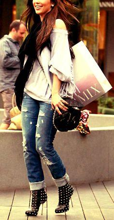 Kim Kardashian in studded Christian Louboutin booties