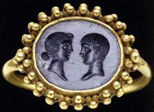 Finger Ring, Roman, gold and black jasper, circa 1st Century B.C. and 4th Century A.D.