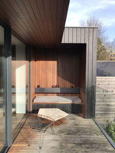 Garage Doors, Bench, Patio, Outdoor Decor, Home Decor, Terrace, Interior Design, Home Interiors, Desk