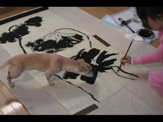 Victoria Li doing a Large Lotus Flower Painting with a Jumbo Size Chinese Brush - YouTube
