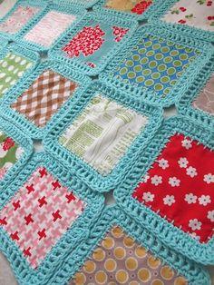 mélange de crochet et patchwork tissu