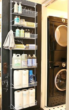Back of the door laundry organization from My Sweet Savannah - for cold winter storage of paints garden chemicals, etc