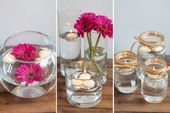 How to Make Floating Candle Centerpieces for a Wedding – Floating Candles İdeas. Picture Wedding Centerpieces, Floating Candles Wedding, Floating Candle Centerpieces, Flower Centerpieces, Flower Arrangements, Candle Arrangements, Simple Centerpieces, Unity Candle, Jar Candle