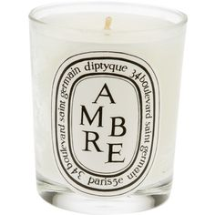Diptyque Ambre Candle (70 CAD) ❤ liked on Polyvore featuring home, home decor, candles & candleholders, white, white home decor, diptyque candles, white candles y diptyque