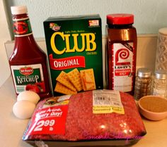 BEST MEATLOAF EVER  1 1/2 lb Ground Beef  2 eggs 1 1/2 packs of crackers 2/3 cup Brown Sugar 3/4 cup Ketchup  Seasoning Salt and Salt  Pepper For Sauce – you'll make while meatloaf is cooking  2/3 Cup Ketchup 1/3 Cup Brown Sugar 1 Teaspoon Apple Cider Vinegar
