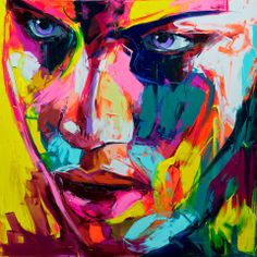 Inspirational Fine artwork of colorful Oil Painting Portraits Painted by Knife / Art - Paintings By  Francoise Nielly