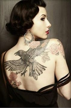 Raven Tattoo on Back - 60  Mysterious Raven Tattoos  <3 !