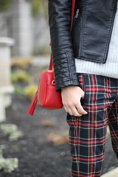 plaid pant and leather jacket. #style #inspiration #zappos
