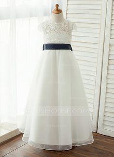 fa3ac7982069 Floor-length Flower Girl Dress - Taffeta/Organza/Lace Sleeveless Scoop Neck  With Sash/V Back (010122578)
