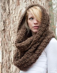 """Slightly chunky, but airy and super soft.  Versatile in several different ways, and a great add on to any outfit.   Fold it, hood it, or simply drape it as is.  Crocheted with a textured stitch all the way through to add the slightest bit of texture and bulk.     approximately 36"""" circumference..."""