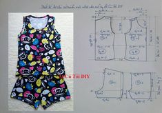 Thiết kế bộ quần đùi sát nách mặc nhà cho nữ Baby Dress Patterns, Sewing Patterns For Kids, Sewing For Kids, Girl Doll Clothes, Sewing Clothes, Crochet Baby Jacket, Pajama Pattern, Japanese Sewing, Make Your Own Clothes