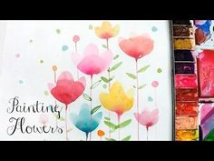 [LVL2] Painting Easy Simple Flowers, Watercolor painting for beginners - YouTube