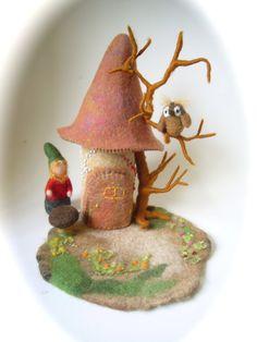 Gnome House Hand FeltedWaldorf f Wet FeltedOwl by FilzArts