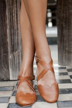 Mangrove. Handmade criss cross leather ballet flats – ELF, brown ballet flats, scallop ballet flats, tan, beige, modern, kiss cross ballet ankle Flats, Sandals, Label Sizes, Cute Shoes, Character Shoes, Simple Style, Footwear, Dance Shoes, High Heels