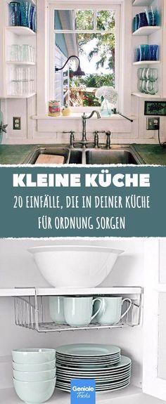 Küche - renovieren 20 ideas that bring order to small kitchens. Tidy Kitchen, Narrow Kitchen, Diy Kitchen Storage, New Kitchen, Kitchen Decor, Kitchen Walls, Diy Storage, Rustic Kitchen, Country Kitchen
