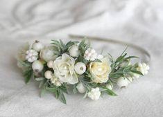 Winter Wedding Crown White Bridal Hairpiece Greenery Wedding