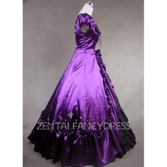 Square Neck Short Puff Sleeves Purple Satin Lolita Dress Gothic Victorian Dress