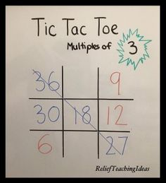 This no prep math game that reinforces multiples is a real winner.  Each player or team takes a turn writing a multiple of the named number on the board. The first player or team to get three in a row wins. A fun way to reinforce multiplication facts!