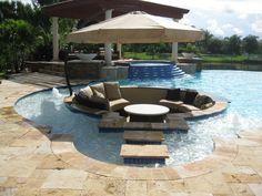 Geometric Pool - Custom In-Pool Seating Area   Pool Builders, Inc.Pool Builders, Inc.