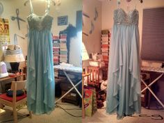 Alterations on a prom dress. The dress went from a zero to a -1,  shortened straps, repaired hook * eye on back above zipper and steamed the entire dress. The right photo with the dress finished and steamed.