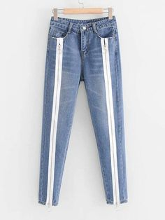 SheIn offers Contrast Zipper Tape Jeans & more to fit your fashionable needs. Blue Shirt With Jeans, All Jeans, Best Jeans, Denim Jeans, Blazer Jeans, Jacket Jeans, Denim Purse, Jeans Dress, Pants