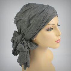 Gray #Turban Head Wrap, Alopecia Chemo Head Scarf Jersey Knit. $49.95, via Etsy. So soft and light; perfect for summer!