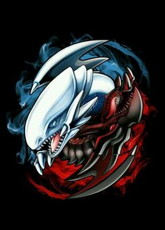 Blue Eyes White Dragon and Red Eyes Black Dragon (yin yang) Yu Gi Oh, White Eyes, Red Eyes, Neos Yugioh, Anime Artwork, Cool Artwork, Yugioh Tattoo, Black Dragon Tattoo, Yugioh Dragons