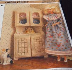 Corner Cabinet Fashion Doll Barbie Furniture Plastic Canvas Pattern