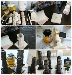 """Christmas Tablescape, making candleholders by """"Not Just A Housewife""""blog."""