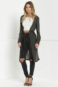 Solid Color New Look Midi Cardigan OLIVE GREEN: Sweaters | ZAFUL