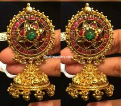 Antique Earrings latest jewelry designs - Page 8 of 56 - Indian Jewellery Designs Indian Wedding Jewelry, Indian Jewelry, Bridal Jewelry, Gold Jewelry, Gold Necklaces, Indian Jewellery Design, Latest Jewellery, Jewelry Design, Antique Earrings