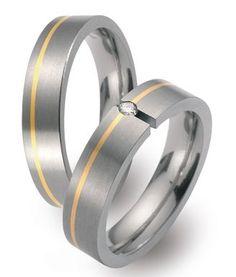 Trauringe Bocholt  Titan- und Gelbgoldringe (Gold 750)   Damenring mit 1 Diamanten, 0,05 kt, Farbe: w, Reinheit: si,  Ringbreite: 5,00 mm,  Ringhöhe: 2,04 mm,  Oberfläche: längsmattiert