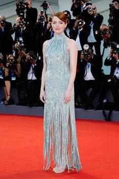 """Emma Stone in Atelier Versace attending the premiere of """"La La Land"""" at Venice Film Festival."""